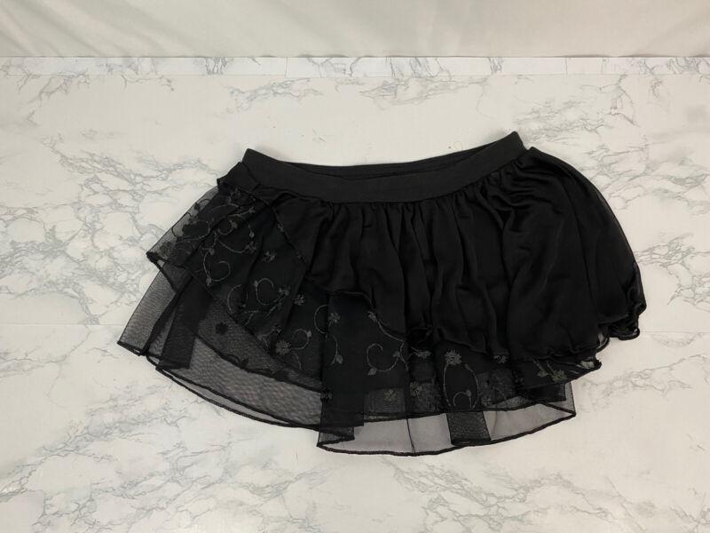 Girls Capezio Future Star Dance Tutu Girls Size M Semi Sheer Black Floral Z