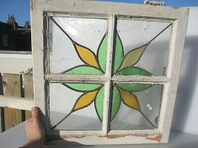 Victorian Stained Glass Window Panel Old Art Nouveau Flower Star Wooden 20