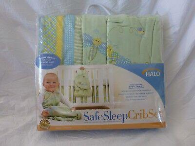 Dragonfly Crib Bedding Set - 5 pc Halo Safe Sleep Sage Dragonfly Print Baby Crib Bedding Set NIP