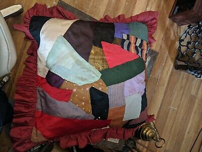 Antique Vtg Crazy Quilt Patchwork Sampler Pillow Top Cover Sham