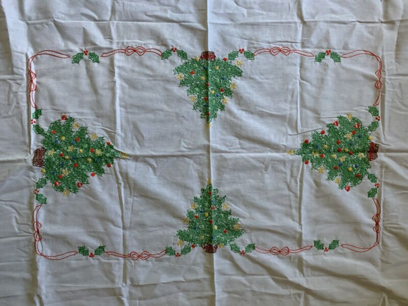 """Handmade Cross Stitch Holiday Tablecloth Christmas Trees 52"""" x 70"""" Finished"""