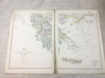 Antique Map of Turkey in Europe Ionian Islands Old Hand Coloured 19th Century