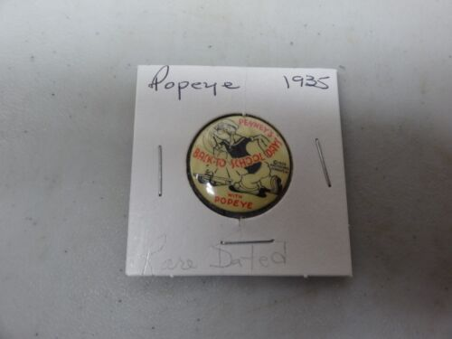 OLD RARE VINTAGE PINBACK BUTTON MOVIE PRODUCTIONS HOLLYWOOD POPEYE DATED 1935