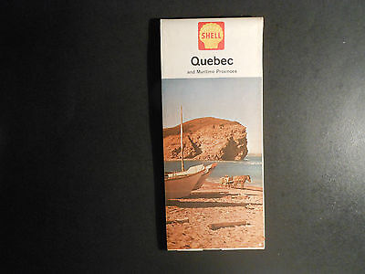 """VINTAGE 1963 SHELL OIL CO. ROAD MAP, """"QUEBEC AND MARITIME PROVINCES""""   CANADA"""