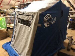 Clam Pro TC portable Ice fishing hut with misc ice fishing gear