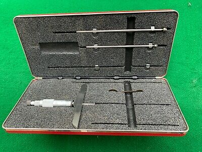 Vintage Starrett No. 445 Depth Gage Micrometer 0-3 Red Padded Case Usa