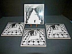 Four Felix Vallotton Cat Tile Trivets Berggren Originals 6 Square & Wall Clock