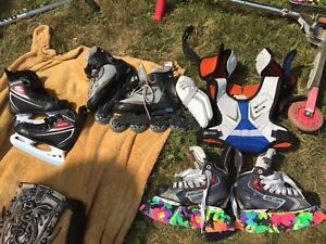 Used skates and pair of rollerblades , $10 each