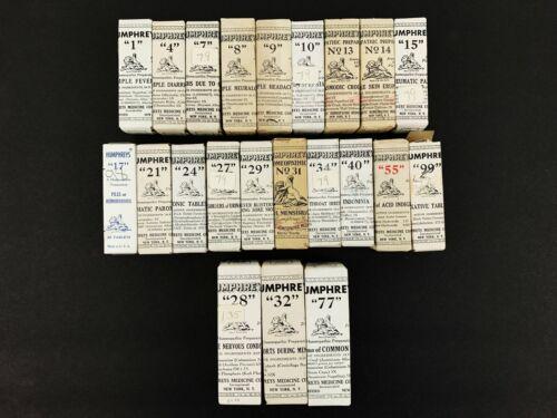 Vtg Huge Lot of NIB SEALED 22 RARE Bottles Humphreys Homeopathic Medicine
