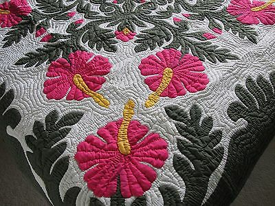 Hawaiian quilt wall hanging handmade 100% hand quilted/appliqued BEDSPREAD 80""