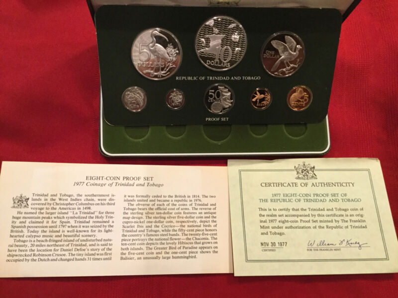 1977 8 Coin Proof Set Of The Republic Of Trinidad & Tobago With Box And COA