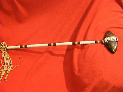 WONDERFUL VINTAGE NATIVE AMERICAN BEADED WAR CLUB Swirling Winds Motif Tomahawk