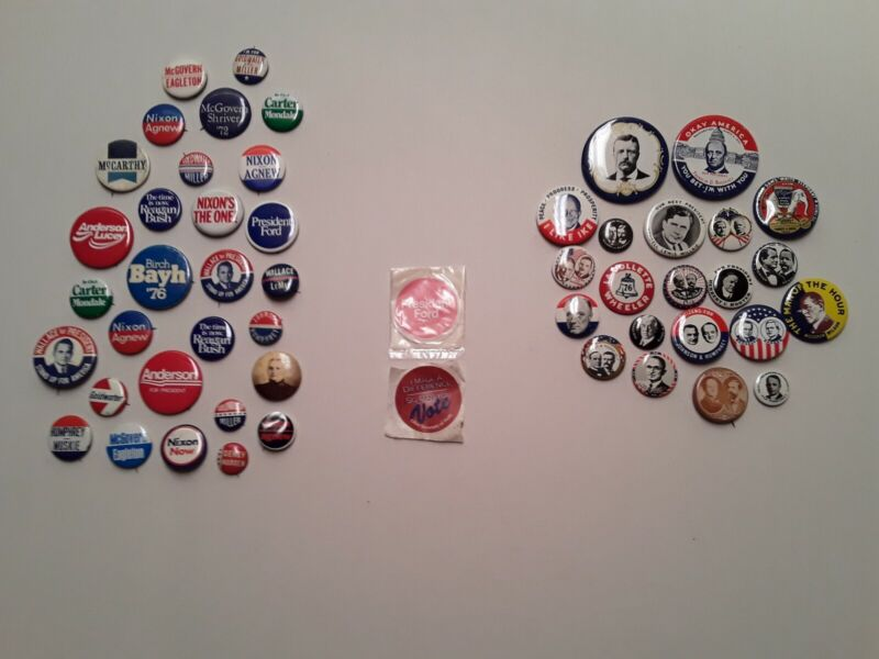 Political buttons Vintage lot Vintage Kleenex lot also