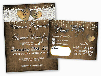 Wedding Invitations or Bridal Shower Heart Country RSVP Cards Set of 100 Rustic](Rustic Bridal Shower Invitations)