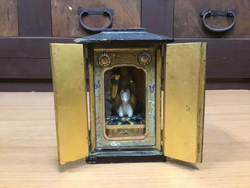 Y0466 STATUE Buddha image Dakiniten figure shrine Japanese vintage doll antique