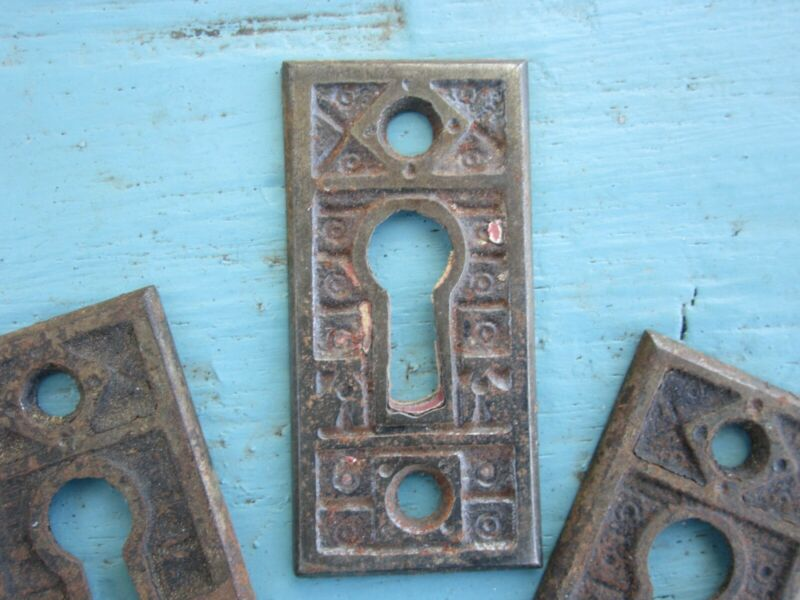 Antique Cast Iron Key Covers Escutcheons Aesthetic Eastlake C 1885 (3 Available)