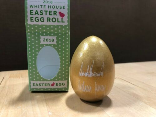 2018 Donald Trump White House Gold Easter Egg with Facsimile Signature in Box
