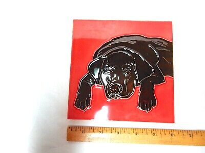 Black Lab Glazed Ceramic Tile - Resting Dog - Beautiful Art by Tile-Craft-New!-- Black Lab Tile