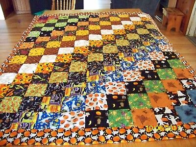Homemade Halloween Quilt Black Backing with Ghost & Pumpkin Binding 51in x 40in](Homemade Halloween Ghosts)