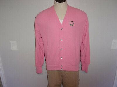 VINTAGE Men's IZOD LACOSTE sz Large Pink Cardigan Sweater