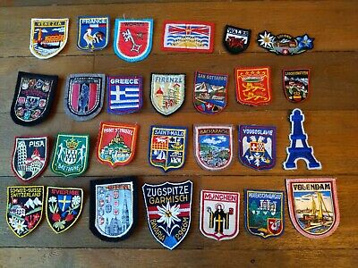 VINTAGE LOT OF 27 TRAVEL SOUVENIR PATCHES EUROPE GERMANY ++