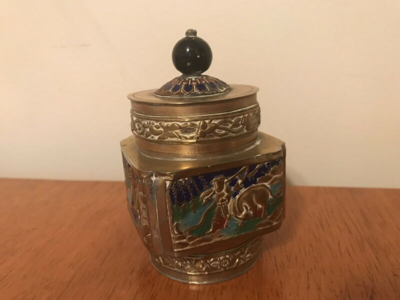 Antique Chinese Brass and Enamel Tea Caddy