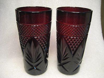 Set of 2 Vtg. Luminarc Cristal D'Arques JD Durand Ruby Red Tumblers