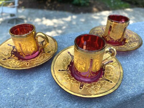 Set of 3 Matching Antique MOSER Cranberry Demitasse Cup & Saucers w/Gold Gilding
