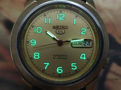 1970's Rare Seiko 5 Automatic Men's Wrist Watch-Military Dial Watch-Glow In Dark