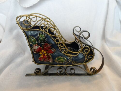 Beautiful metal bronze and blue Christmas Sleigh with 3D poinsettias