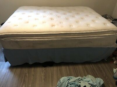 (Used) Queen Sized Pillowtop Mattress & Queen Sized Box Spring & Metal Frame for sale  Shipping to India