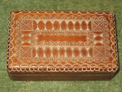 Antique Chip Carved Stamp Box