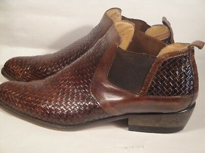 VTG GREGOR per FORUM Brown Woven Leather Ankle Boots Block Heel sz 40/9.5 -