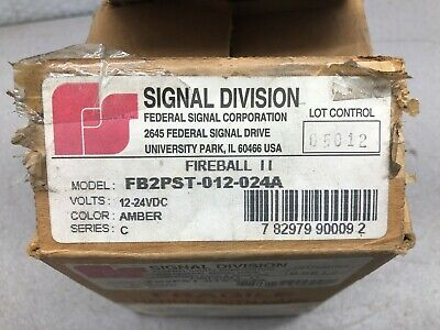 New In Box Federal Signal Fireball Ii Amber 12-24 Vdc Fb2pst-012-024a