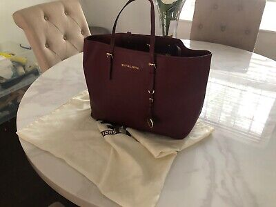authentic michael kors jet set tote merlot/oxblood