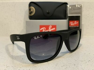 New Ray-Ban Justin Wayfarer POLARiZED RB4165 622/T3 Black/Grey Gradient 55mm