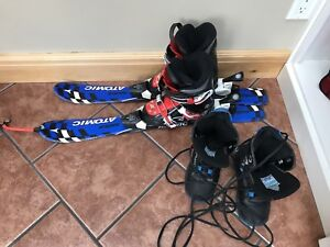 Kids skis boots and snow board boots