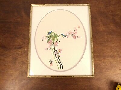"Vintage Japanese Silk Art Bird Cherry Blossoms Signed and Framed 15"" x 18"""