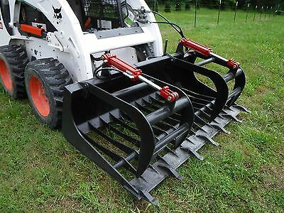 Bobcat Skid Steer Attachment - 72 Rock Bucket Tooth Grapple - Ship 149