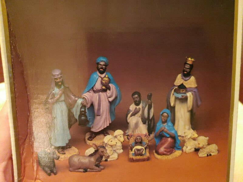 12 Piece Hand Painted Poly Resin African American Classic Nativity Set
