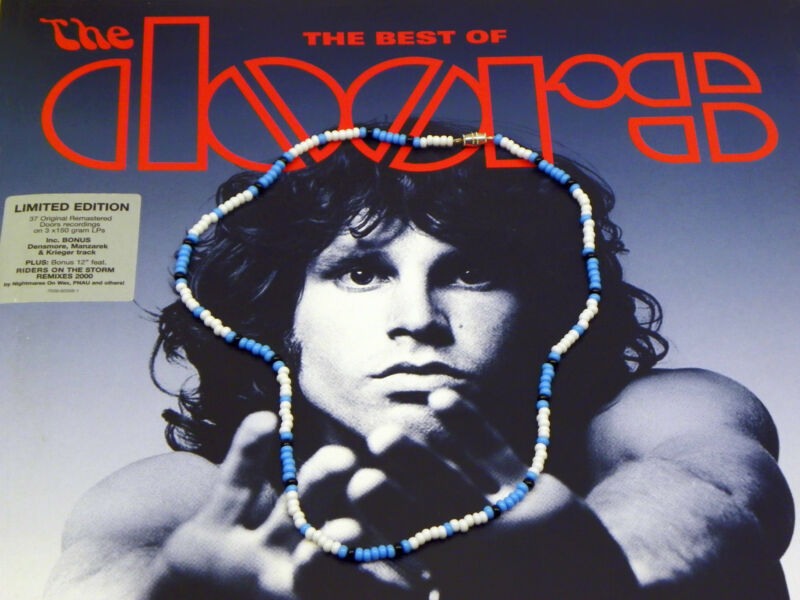 "21"" Jim Morrison Style Handmade Bead Necklace Orig. Turquoise White Black  Doors"