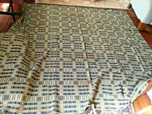 GREAT ANTIQUE  OLD HOME SPUN AND GREAT coverlet78. x 84 inches