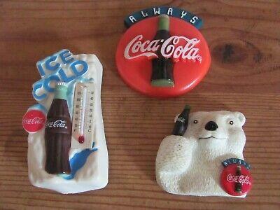 Vintage Rubber Coca-Cola Refrigerator Magnets Polar Bear, Coke Sign,Thermometer