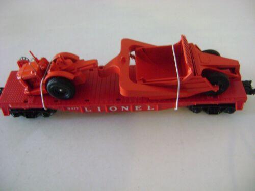 Lionel  6817 Red Flatcar mint on 6511-2 mold w/LTI exact dark orange Scraper