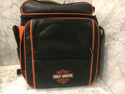 VTG HARLEY DAVIDSON Black Leather Back Pack,, LOGO, Orange leather trim NWT