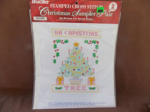 Bucilla Oh Christmas Tree & Seasons Greetings Stamped Cross Stitch Christmas