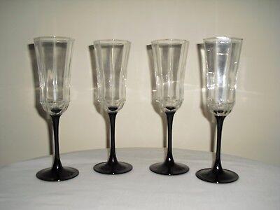 (4 Black Stem Clear Octagon Wine / Champagne Goblets / Flutes LUMINARC FRANCE)