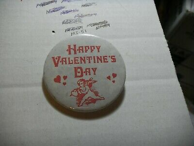 Button Pin holiday happy Valentines Day love cherub heart Be Mine romance - Happy Valentines Day Button
