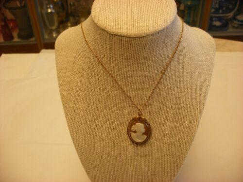 Antique Victorian Art Nouveau 10K Gold Cameo Broach Pin & Pendant #2