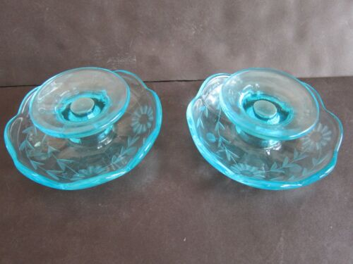 Pair Paden City Glass Turquoise / Blue Etched Glass Candle Holders